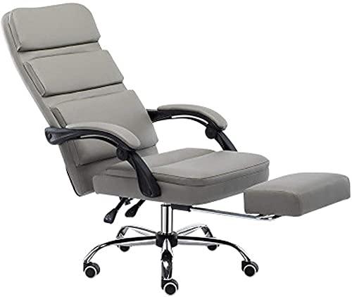 Office Life - Silla ergonómica para oficina en casa, ajustable, con respaldo alto, giratoria, de piel sintética, para carreras de ordenador, escritorio y silla-Graya.