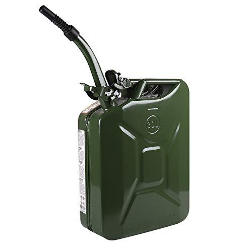 WALTER Benzinkanister 20L mit flexiblem Einfüllstutzen/Trichter aus Metall, Kraftstoff-Kanister, grün, Sicherheitsverschluss