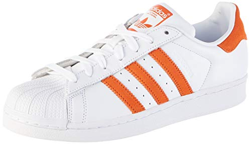 adidas Herren Superstar Sneaker, Weiß (Footwear White/Orange/Footwear White 0), 43 1/3 EU