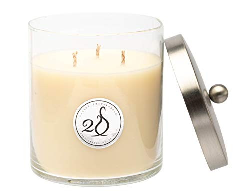 Simply Soson | English Garden Scent Home Decoration Gift| Luxury 3 Wick Scented Natural Soy Wax Glass Candle | Hand Poured Ivory Candle Jar | Highly Scented with Lid & Long Lasting | Large - 14 Oz.