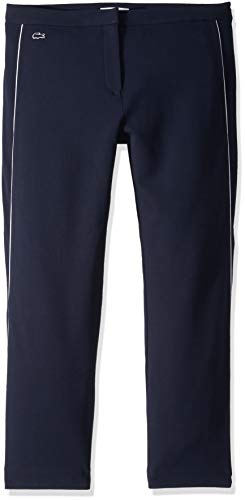 Lacoste Women's Crepe Interlock Athleisure Trousers, Navy Blue/Flour, 10
