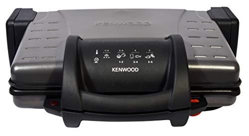 Kenwood HG210 Kompakt-Grillplatte mit abnehmbaren Antihaft-Platten, 3 Positionen, Öffnung 180 Grad, Auffangschale, Temperaturanzeige, Aufrollbar, 210 W, Grau