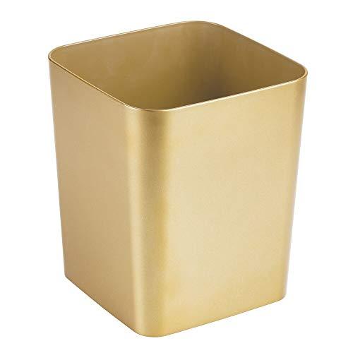 mDesign Mülleimer Bad – quadratischer Kosmetikeimer im eleganten Design – Abfalleimer aus Kunststoff – stabiler Abfallsammler auch für die Küche – messingfarben