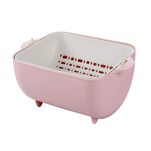 Scolapasta doppio, colino da cucina, grande ciotola in plastica e colino staccabile, set salvaspazio per la pulizia di frutta e verdura. rosa