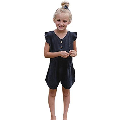 Moneycom Toddler Baby Girls Fly Sleeve Manches Longues Imprimé Barboteuse Combinaison Vêtements Romper Jumpsuit élégant Barboteuse Bapteme Salopettes Grenouillère Ete Marine(3-4 Ans)