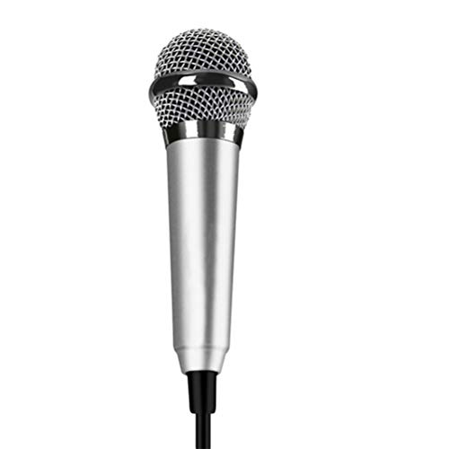 SUPVOX Mini Karaoke Condenser Microphone for Phone Coumputer Mini Phone Microphone (Silver)