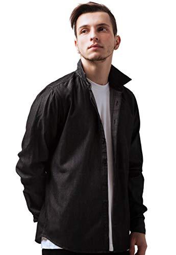 Strand Clothing - Chemise casual - Col Chemise Classique - Manches Longues - Homme - Noir - Large