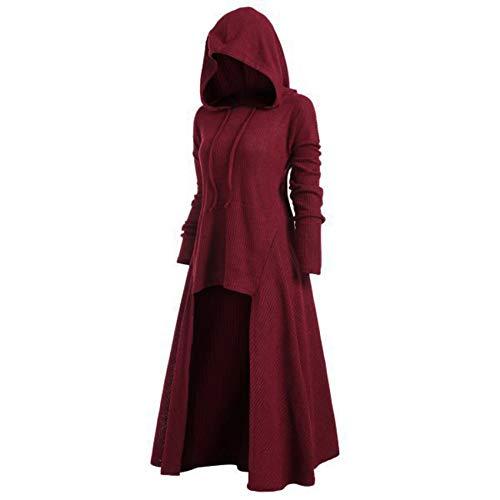 OtoñO Invierno Vestido De Talla Grande para Mujer Abrigo De Color SóLido EláStico Holgado con Capucha