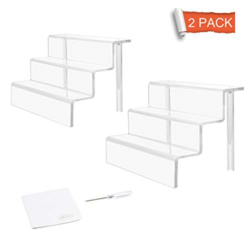 NIUBEE 2 Pack Acrylic Riser Display Shelf for Amiibo Funko POP Figures, Cupcakes Stand for Cabinet, Countertops, Table - 3-Tier, Clear (9×6)