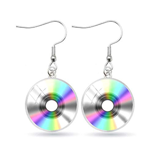 NAOZHONGa Schallplatte Ohrringe Runde Schmuck Glaskuppel CD Schallplatte Ohrringe
