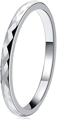 THREE KEYS JEWELRY Womens Rings Unique Silver Tungsten Carbide for Man 2mm Ring Wedding Band product image