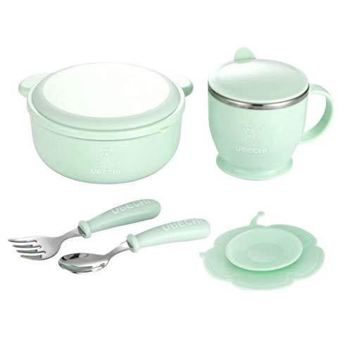 joyMerit 5X Kinder Frühstücksset Edelstahl Schüssel Cup Löffel & Gabel Mit Pad - Blau, wie beschrieben
