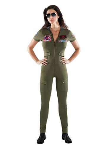 Maskworld Top Gun Catsuit - Damen - Lizenziertes Film-Kostüm für Erwachsene - Verkleidung Karneval Motto-Party - Größe: XL