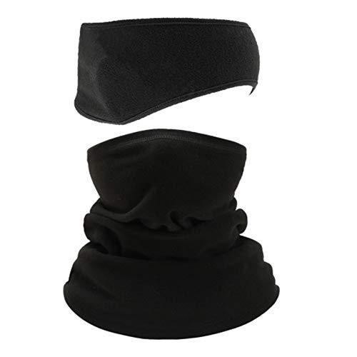 iEago RC - Bandana multifunción con forro polar y banda elástica antihumedad para invierno deportivo, color negro