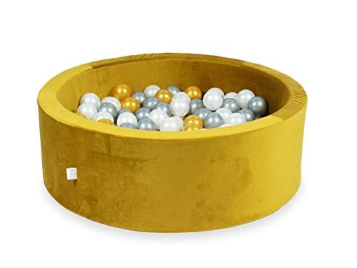 Meesoz Bällebad für Kinder   200 Bälle + Aufbewahrungstasche   Weicher Schaum mit Wasserdichtem Boden   Rund 90x30cm Velvet Gold Bällebad mit Gold/Silber/Perlen Bälle   Made in EU