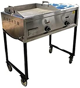 Stainless Steel Outdoor Taco Cart 2 Burner Griddle And Food Warmer 3 Compartment Grease Trap For Propane Use Catering Hibachi Fried Rice Camping Breakfast Cooker