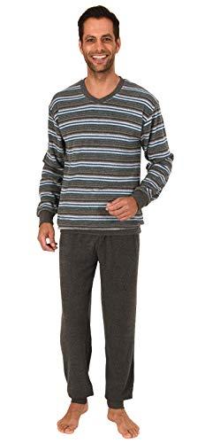 Edler Herren Frottee Schlafanzug Pyjama mit Bündchen in Streifenoptik - 291 101 13 580, Größe2:48, Farbe:grau-Melange