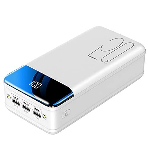 PWQ-01 Power Bank Cargador Portatil Banco Energía Cargadores De Móvil con Pantalla LED Bateria Externa 3 Salidas [Type-C & Micro USB & Lightning] para iPhone Samsung Xiaomi Huawei Tableta,50000mAh