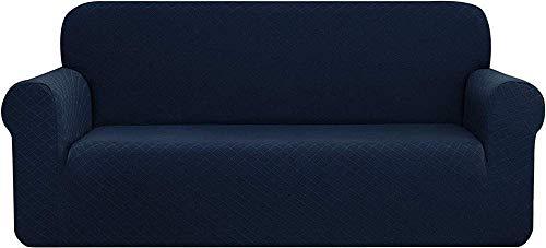 HYLDM Rhombus Funda de sofá Jacquard Poliéster Spandex Funda para sillón Funda Protectora para Muebles, Fundas de sofá Suaves elásticas universales elásticas (Azul Marino, 4 plazas/Sof