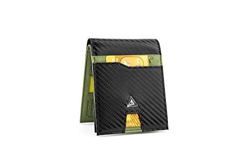 KJENIUS® Galileo Cartera de Hombre con Monedero de Piel Verde y Fibra de Carbono, Bloqueo protección RFID, Cremallera para Monedas, 13 Tarjetas de crédito, 2 Bolsillo para Billetes, Caja de Regalo