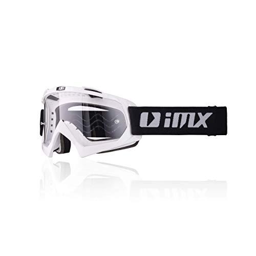 iMX Gafas Mud Lente transparente Correa con estampado de silicona Espuma de tres capas Incluye una lente Motocross Enduro Mtb Downhill Freeride, One Size, Blanco