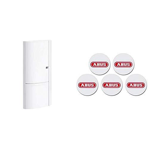 ABUS Öffnungsmelder Smartvest für Funk-Alarmanlage   verwendbar an Türen und Fenster   Testsieger   kabellose Montage   weiß   38830 & 71511 Smartvest/Terxon Proximity-Chip-Sticker (5er Pack)