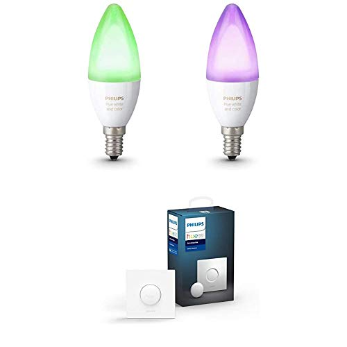Philips Hue Pack de 2 Ampoules Connectées White & Color flamme E14 - Fonctionne avec Alexa + Smart Button bouton télécommande intelligent connecté