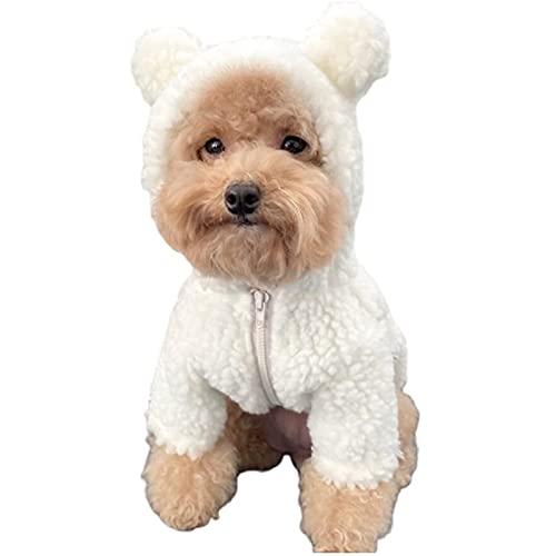 SLJF Disfraz de oso de peluche para perro, con capucha y forro polar, disfraz de oso de peluche, animal para otoño, invierno (beige, XXXL)