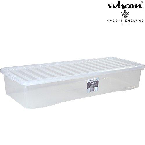 Unterbettbox mit Deckel transparent lebensmittelecht 55 Liter Stapelbar Aufbewahrungs Box Unterbett Kiste Multifunktions Box Unterbettkommode lange Kommode flach Kunststoff Plastikbox Organizer Büro