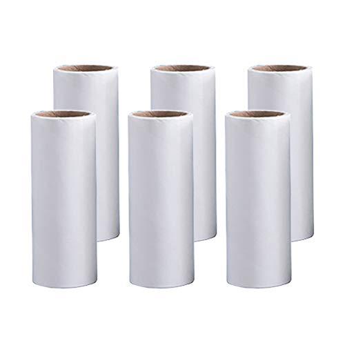 Ersatzrolle für Fusselrolle * 6, Zerreißbare 60 Blatt schräg zerreißendes klebriges Papier 12 cm sauberes klebriges Papier Staubpapierrolle Haar Papier passendes Papier weiß