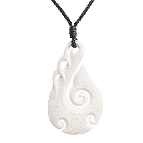 81stgeneration Hueso Tallado A Mano Maorí Hei Matau Gancho Espiral Collar Colgante de Hombre Mujer