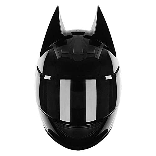 SYJY Casco Batman Aprobado por Dot/ECE, Motocicleta eléctrica para Hombres y Mujeres, Casco Integral de Motocross de Carreras geniales