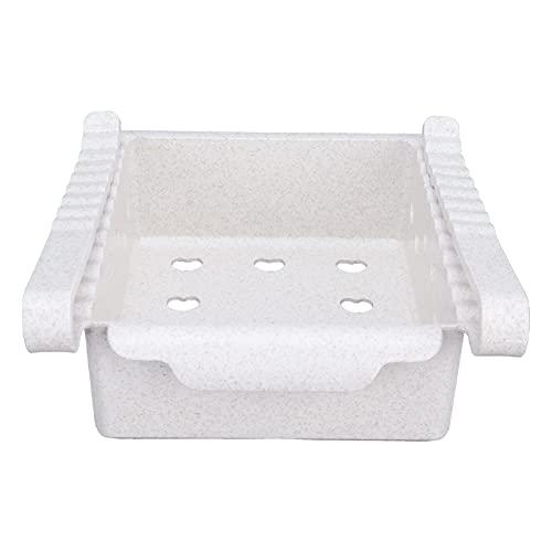 Chiwe Organizadores de frigorífico, Organizador de cajones de frigorífico Ligero con asa Frontal para congelador, Cocina para armarios de encimeras(White)