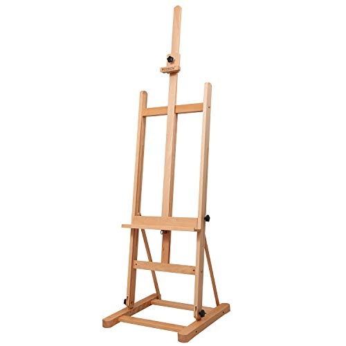 MEEDEN Medium-Duty Studio H-Frame Easel - Medium Solid Beech Wood Artist Easel Adjustable Tilting Floor Painting Easel Stand, Holds Canvas Art up to 48""