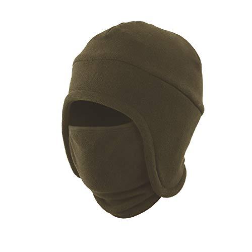 LLmoway Mens Winter Hat Fleece Earflap Hat Warm Skull Cap Ski Mask Beanie 2 in 1 Hood Hat Army Green