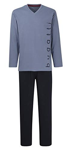 Bugatti Herren Schlafanzug, lang, Pyjama, edel, bequem, bügelfrei (XL (54), mediumblau)