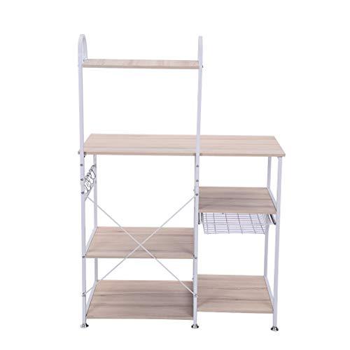 Clearance Sale!DEESEE(TM)Multifunctional Kitchen Rack Microwave Oven Floor Shelf Storage Storage Cupboard (White)