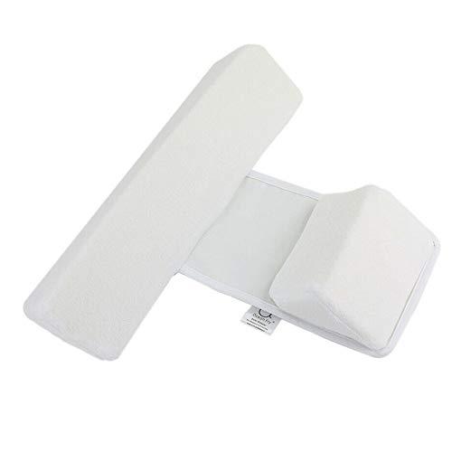 WEQQ Coussin Anti-roulis réglable pour bébé avec Coussin de Sommeil latéral pour bébé Blanc