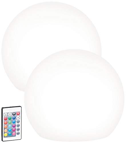 Lunartec Solar LED Kugel: 2er-Set Solar-LED-Leuchtkugel mit Fernbedienung, 60 Lumen,IP67, Ø30 cm (Solarkugel für den Garten)