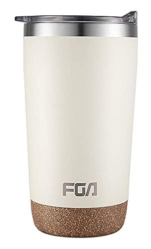 FGA Thermobecher Kaffeebecher to go Edelstahl Travel Mug 600ml Isolierbecher BPA-frei Reisebecher für heiße und kalte Getränke Elfenbein