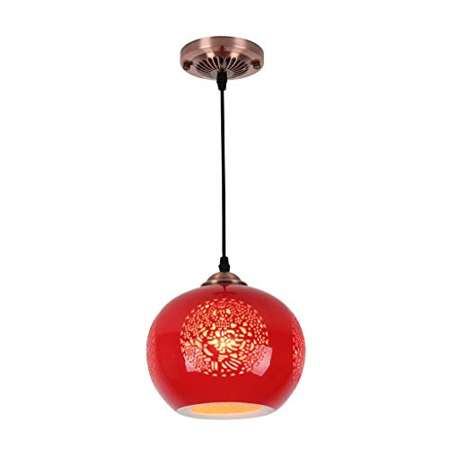 DYXYH Lámpara Colgante de Estilo Chino Rojo for Cocina Comedor Sala de Estar Suspensión Luminaria Colgante Cerámica Cerámica Lámparas de araña Accesorios