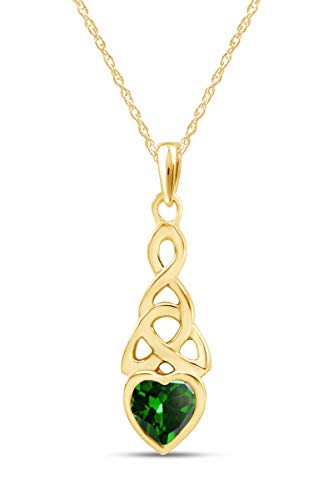 AFFY Trinity Heart Celtic Knot Pendant Necklace Simulated Emerald 14K Yellow Gold Over Sterling Silver