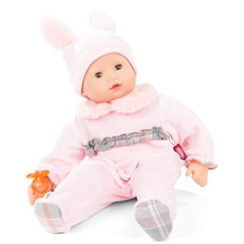 Götz 2127902 Maxy Muffin Pastellino Puppe - 42 cm große Babypuppe mit blauen Schlafaugen, ohne Haare und Weichkörper - Weichkörperpuppe in 4-teiligen Set