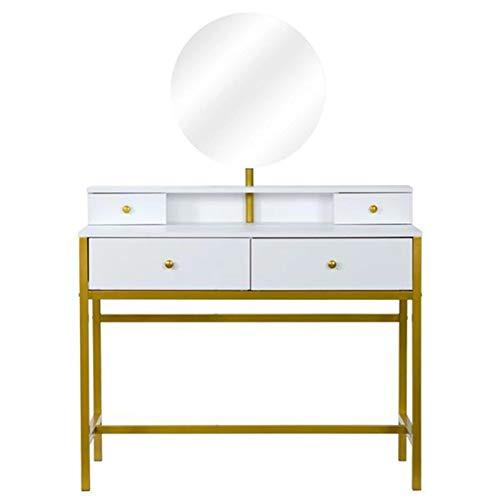 ZDAMN Tocador de maquillaje para dormitorio, mesa de maquillaje con 4 cajones, tocador de madera y espejo redondo para el hogar (color: blanco, tamaño: 100 x 45 x 87 cm)
