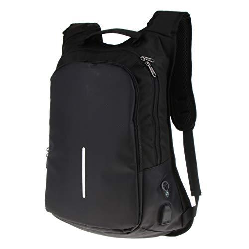 Bonarty Mochila Antirrobo para Computadora Portátil con Puerto de Carga USB Bolsa de Viaje Escolar para Acampar Al Aire Libre - Negro