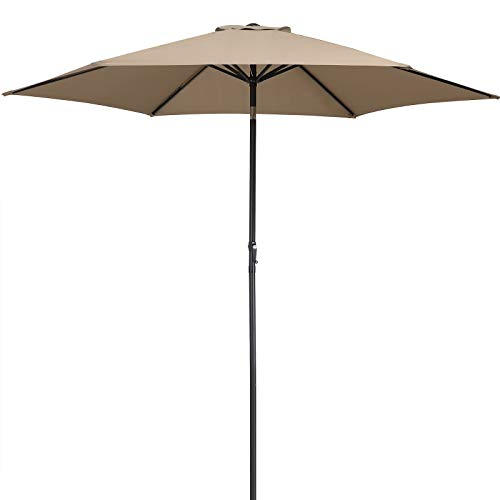 Kingsleeve Sonnenschirm 300 cm Groß Taupe UV Schutz 50+ Neigbar Wasserabweisend 3m Garten Terrasse Balkon Marktschirm