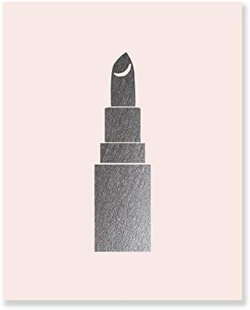 Lipstick Silver Foil Art Print Makeup Blush Pink Poster Wall Hanging Metallic Dorm Decor Girls product image