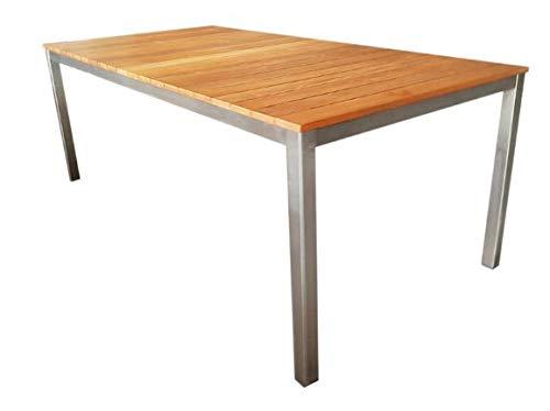 Holzner-Trading Gartentisch Edelstahl 180 x 100 cm mit Teak Platte quer