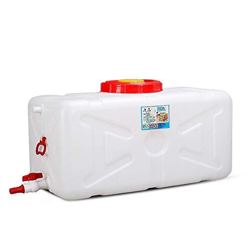 WOOGG Wasserbehälter größeres Fassungsvermögen Tragbarer rechteckiger Plastikeimer Horizontal for Camping Platz Wasserspeichertank Wassertank Weiß Mit Deckel Und Hahn 100L 200L 300L (Size : 200L)
