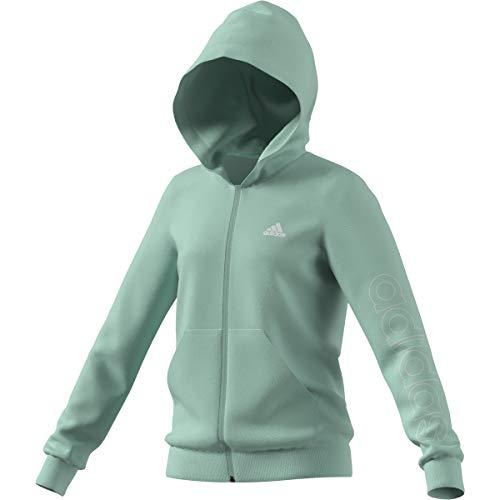 adidas G Lin FZ Hd Sweatshirt für Mädchen, Mädchen, Sweatshirt, GN4080, Mencla / Weiß, 14 años